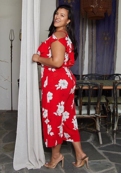 Asoph Plus Size Floral Print Jumpsuit