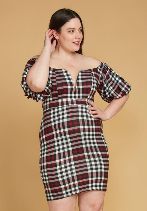 Asoph Plus Size Plaid Split Off Shoulder Dress