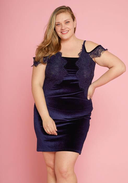 68154f6218c Asoph Plus Size Lace Trim Velvet Open Shoulder Dress