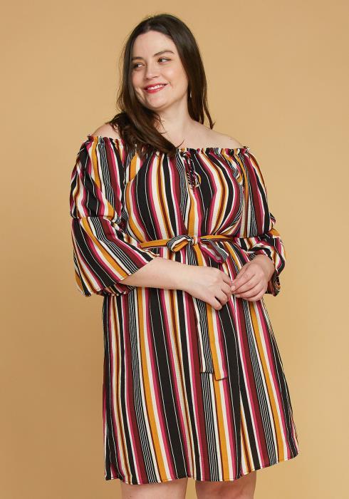 Asoph Plus Size Stripe Off Shoulder Casual Dress