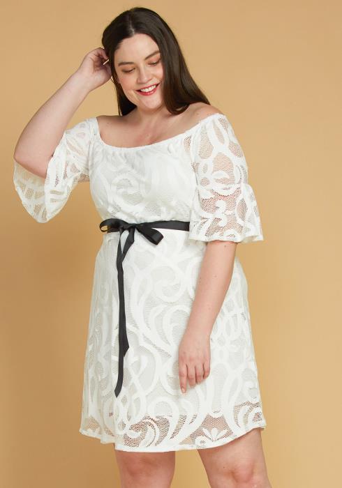 Asoph Plus Size Tie Waist Lace Flared Dress