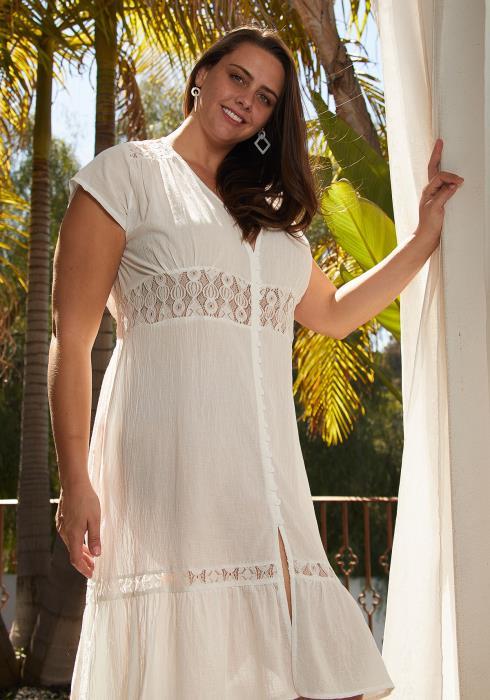 Aposh Plus Size Button Up Dress