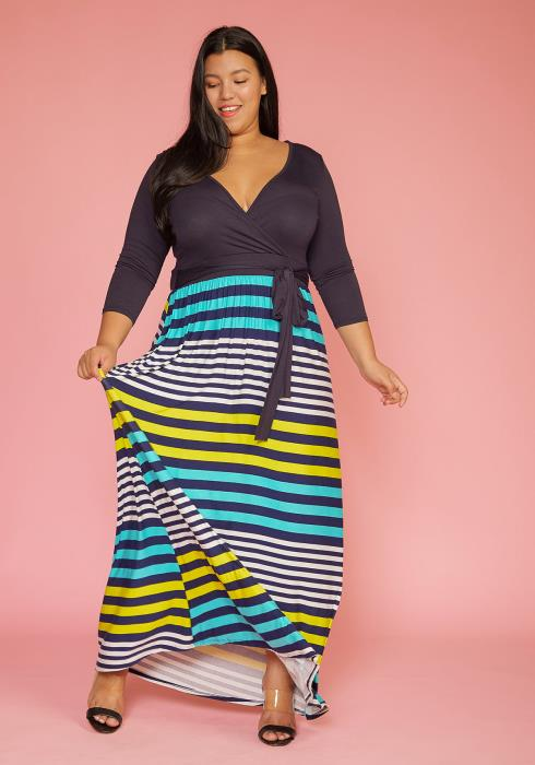 Plus Size Multi Stripe Contrast Wrap Dress