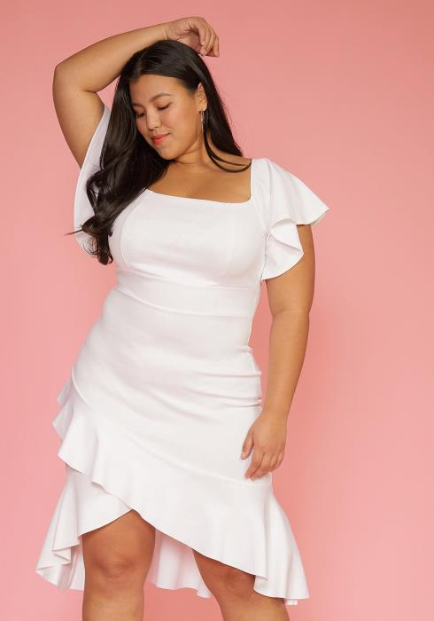 Asoph Plus Size Square Neck Ruffle Hem Dress