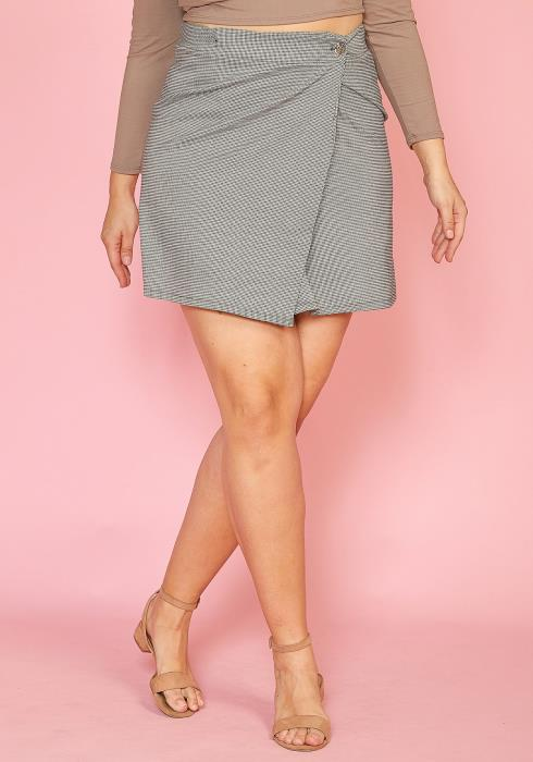 b2efcecfcc Asoph Plus Size Houndstooth Mini Wrap Skirt