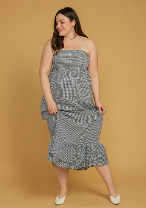Asoph Plus Size Smocked Tube Top Ruffle Hem Maxi Dress