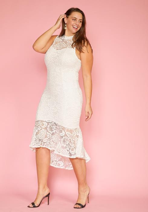 Asoph Plus Size Sleeveless Lace Hi-Lo Flared Hem Dress
