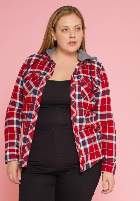 Asoph Plus Size Plaid Button Up Hooded Jacket
