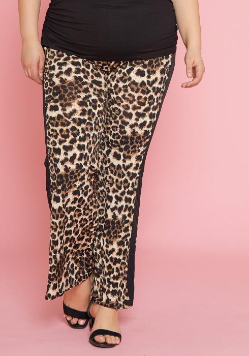 Asoph Plus Size Cheetah Print Wide Leg Pant