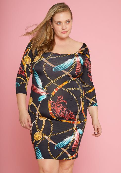 Asoph Plus Size Multi Chain Print Dress