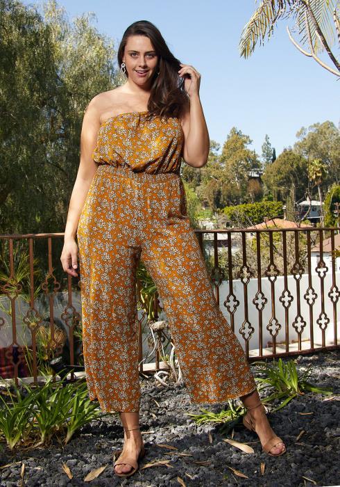 Asoph Plus Size Strapless Floral Jumpsuit