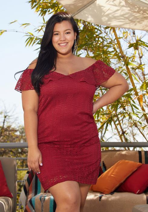 Aposh Plus Size Off Shoulder Lace Dress