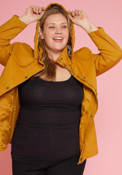 Asoph Plus Size Zip Up Jacket With Drawstring