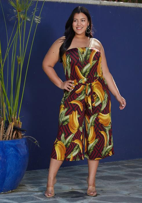 Aposh Plus Size Banana Print Jumpsuit