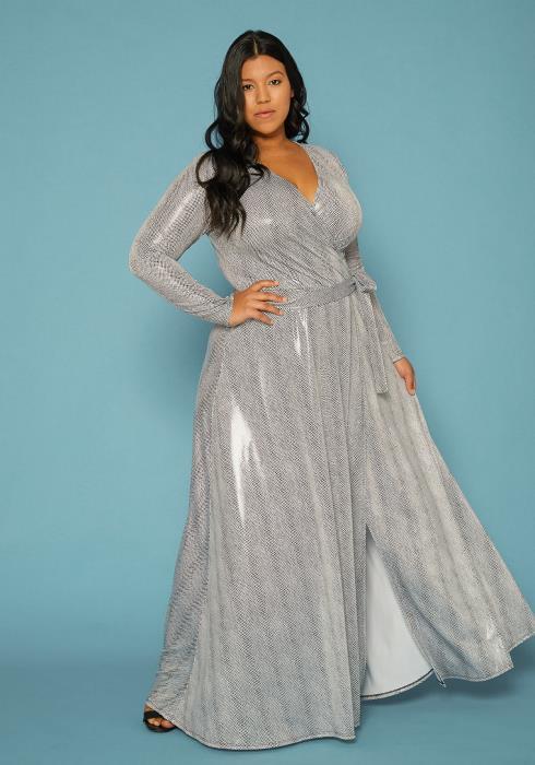 Asoph Plus Size Wrap Metallic Silver Print Maxi Dress