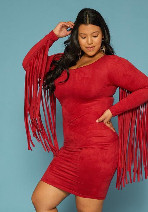 Plus Size Fringe Sleeve Faux Suede Dress