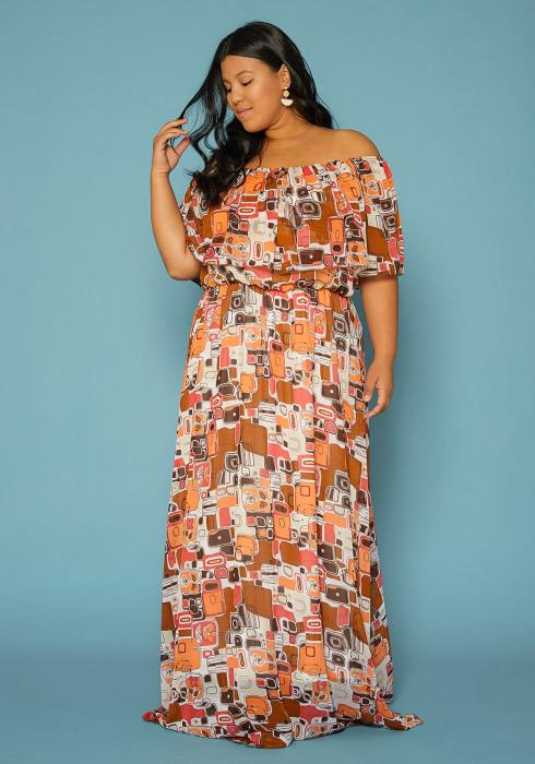 35f54a99c5 Asoph Plus Size Abstract Print Off Shoulder Maxi Dress