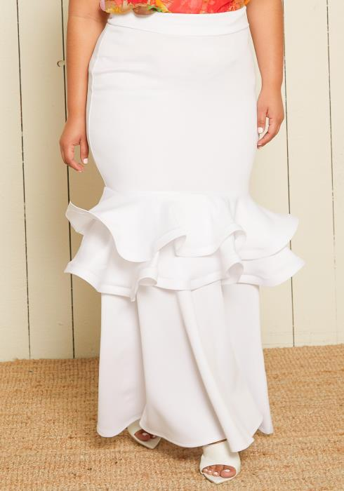 Asoph Plus Size Peplum Maxi Skirt