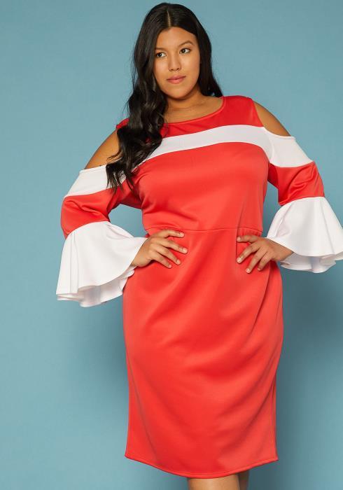 d38c5cb0e35 Asoph Plus Size Cold Shoulder Ruffle Sleeve Dress