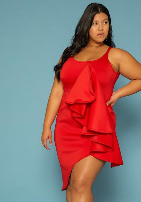 Asoph Plus Size Asymmetrical Ruffle Accent Dress