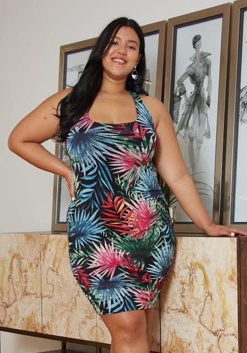 Asoph Plus Size Leaf Print Bodycon Dress