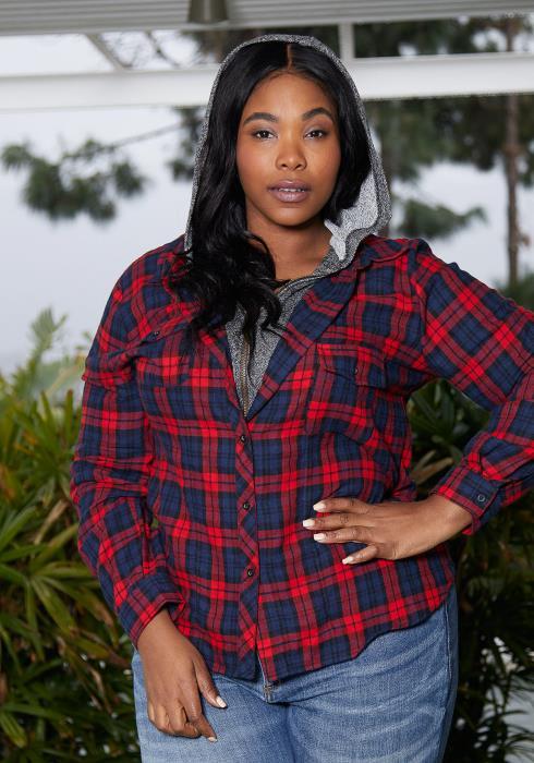 Asoph Plus Size Zip Up Flannel Jacket