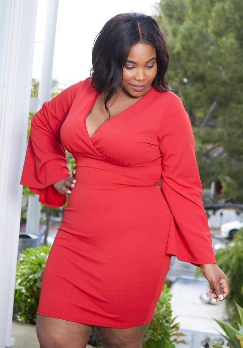 Asoph Plus Size Surplice Bodycon Dress