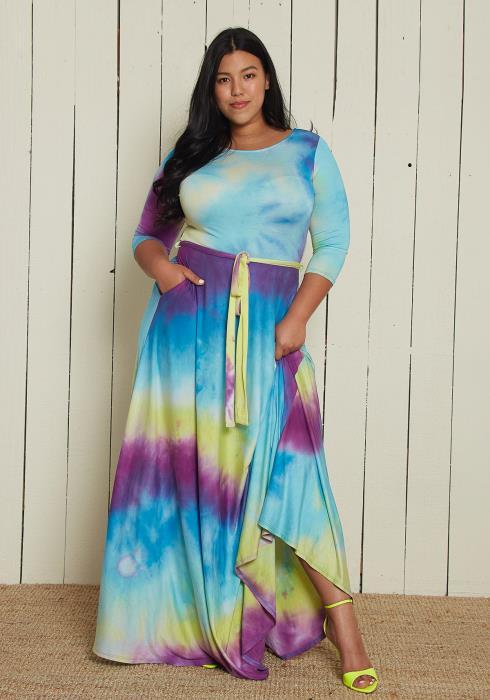 Asoph Plus Size Tie Dye Maxi Dress