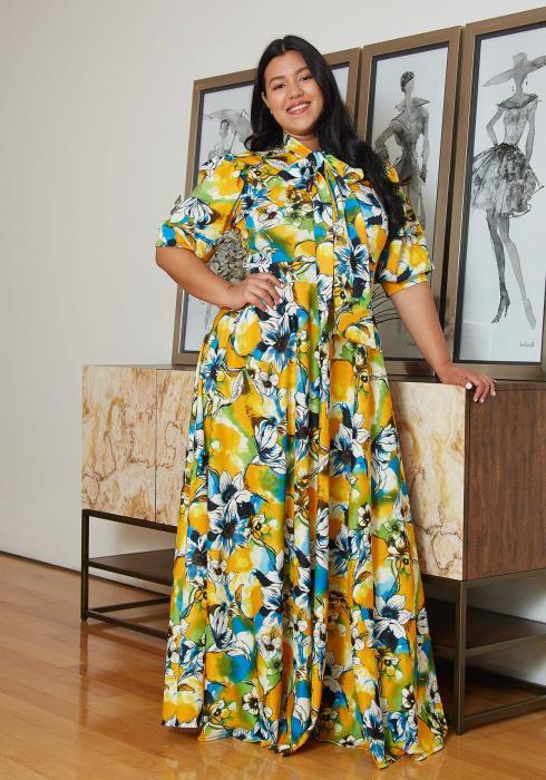 Asoph Plus Size Floral Maxi Dress