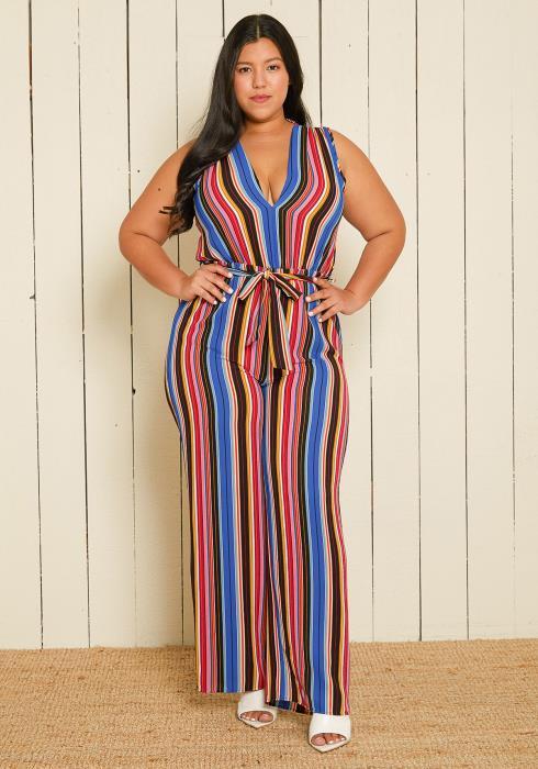 Asoph Plus Size Stripe Jumpsuit