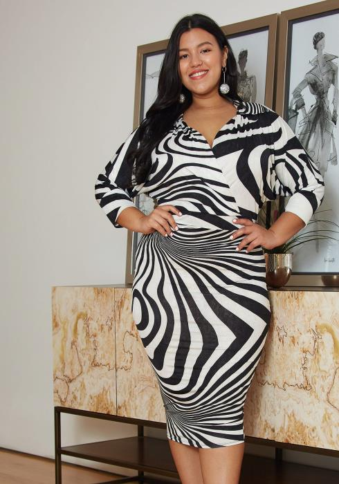 Asoph Plus Size Stripe Bodycon Dress