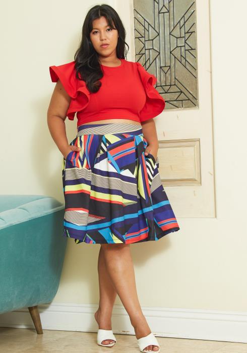 Asoph Plus Size Multi Flared Skirt