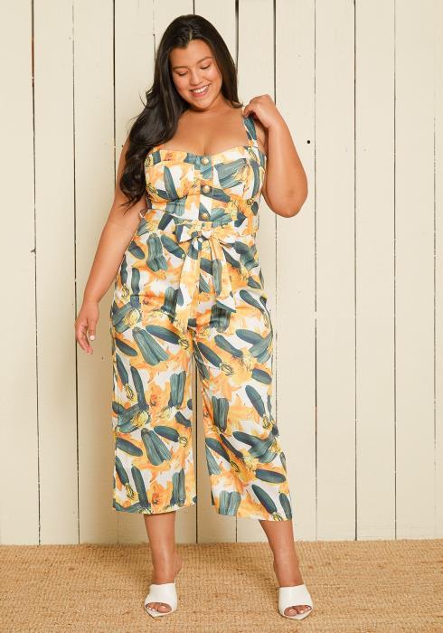 Asoph Plus Size Zucchini Print Jumpsuit