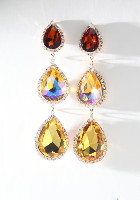 Multi Color Gem Drop Earrings