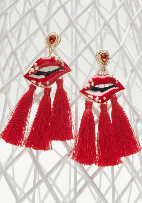 Lip Tassel Drop Earrings