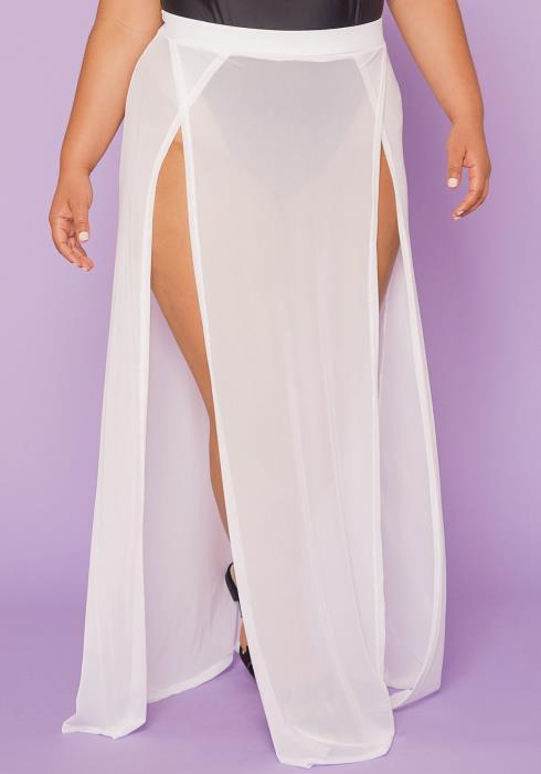 Asoph Plus Size Sheer Slit Skirt