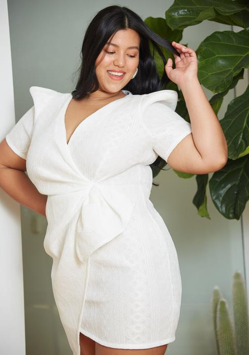 Asoph Plus Size Lattice Wrap Dress
