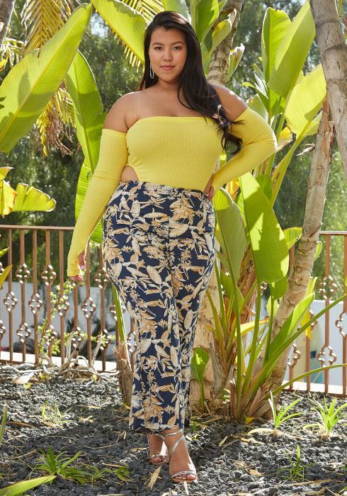 Asoph Plus Size Floral Print Pants