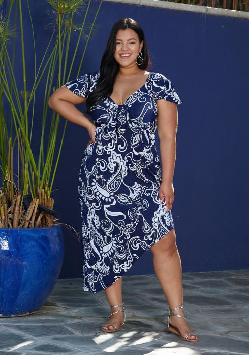 Asoph Plus Size Multi Print Asymmetrical Dress