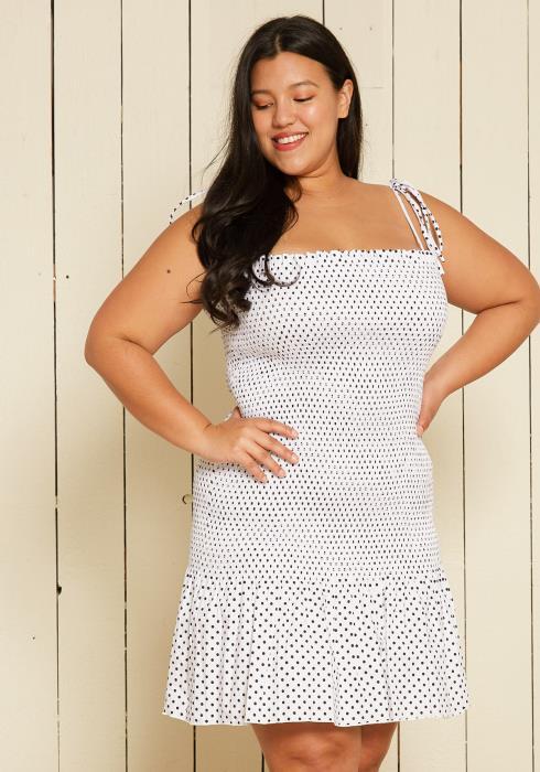 Asoph Plus Size Smocked Polka Dot Dress