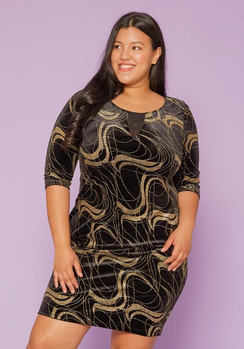 Asoph Plus Size Gold Garnished Velvet Dress