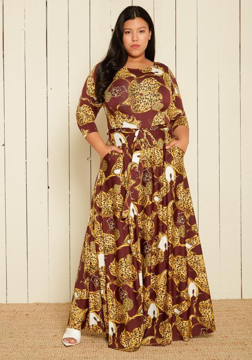 Plus Size Multi Print Maxi Dress