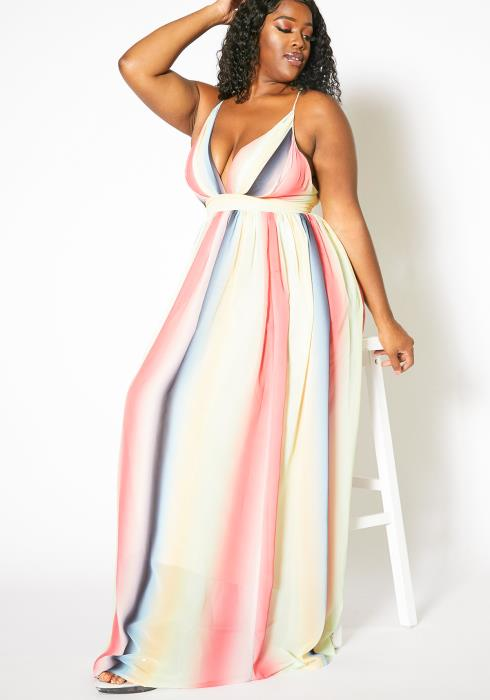 Asoph Curvy Womens Fading Pastel Striped Maxi Empire Dress