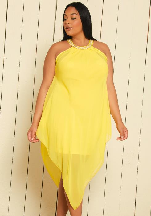 Asoph Plus Size Chiffon Halter Dress