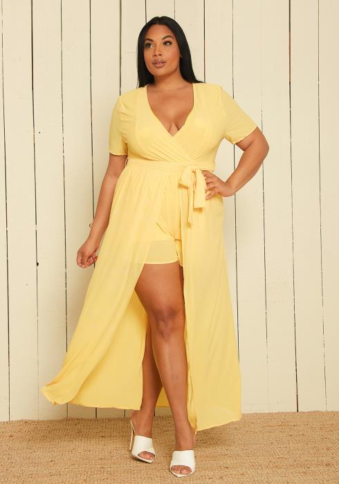 Asoph Plus Size Cape Skirt Romper
