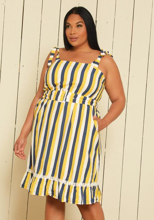 Asoph Plus Size Stripe Sun Dress