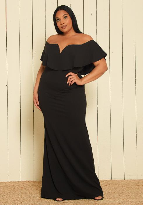 Asoph Plus Size Off Shoulder Maxi Dress