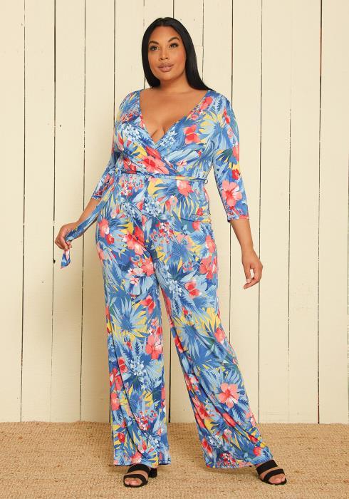 Asoph Plus Size Floral Jumpsuit