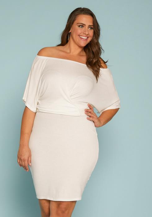 Asoph Plus Size Ribbed Bodycon Dress