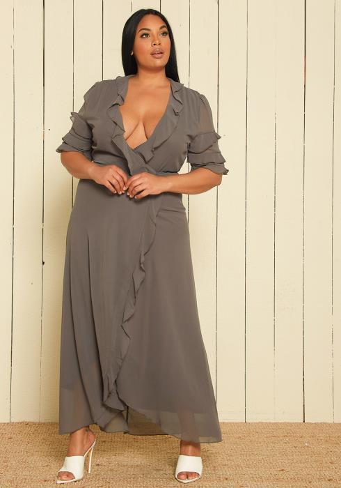 Asoph Plus Size Chiffon Wrap Dress